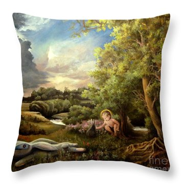 Throw Pillow featuring the painting Heaven by Mikhail Savchenko