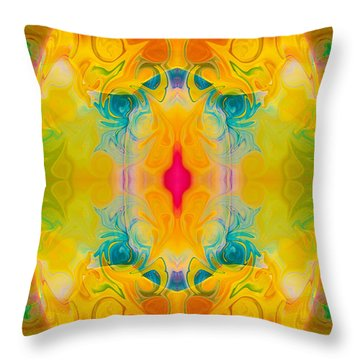 Throw Pillow featuring the digital art Heavenly Bliss Abstract Healing Artwork By Omaste Witkowski  by Omaste Witkowski