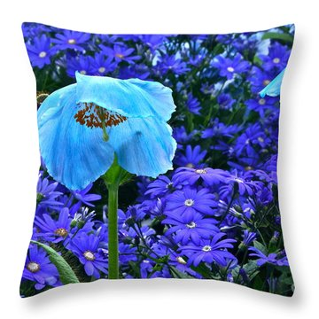 Heavenly Blue On Blue And Purple Throw Pillow by Byron Varvarigos