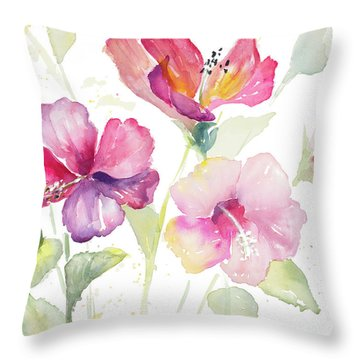Heavenly Hibiscus Throw Pillow