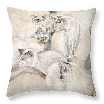 Heavenly Puffs Throw Pillow by Janet Felts