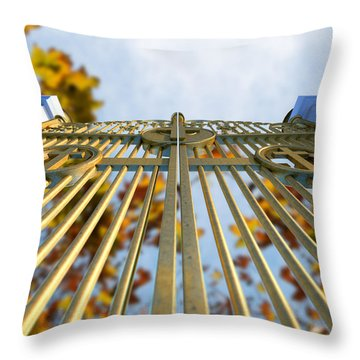 Heavens Golden Gates And Autumn Leaves Throw Pillow