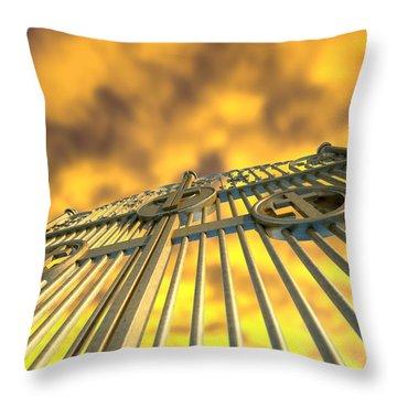 Heavens Golden Gates And Yellow Sky Throw Pillow