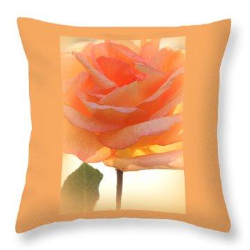 Heaven's Peach Rose Throw Pillow