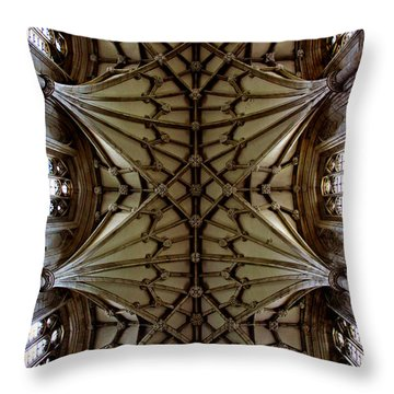 Heavenward -- Winchester Cathedral Ceiling Throw Pillow by Stephen Stookey