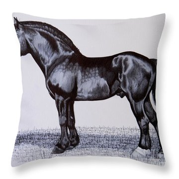 Heavy Draft Horse Series Throw Pillow by Cheryl Poland