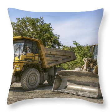 Heavy Equipment - Komatsu - Cat Throw Pillow