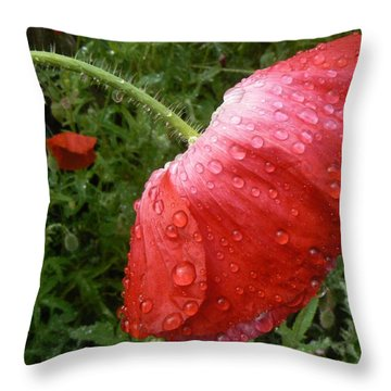 Heavy Head Poppy Throw Pillow