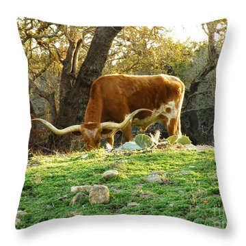 Heavy Horns Throw Pillow by Joe Jake Pratt