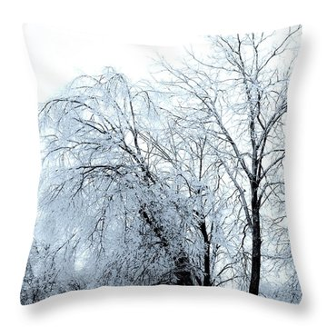 Heavy Ice Tree Redo Throw Pillow by Marsha Heiken