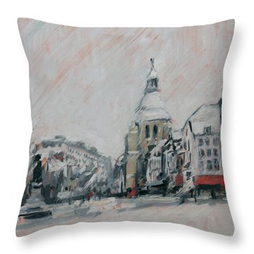 Throw Pillow featuring the painting Heavy Snowfall In Maastricht by Nop Briex