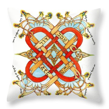 Hebrew Words For Love Throw Pillow