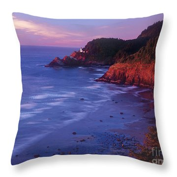 Heceta Head Lighthouse At Sunset Oregon Coast Throw Pillow