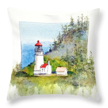Throw Pillow featuring the painting Heceta Head Lighthouse by Bonnie Rinier