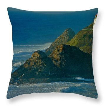 Throw Pillow featuring the photograph Heceta Head Seascape by Nick  Boren