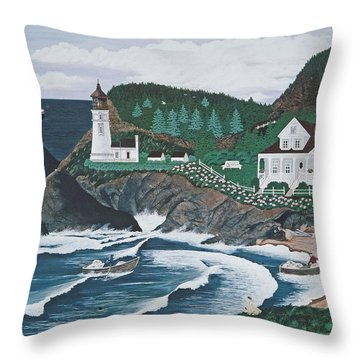 Throw Pillow featuring the painting Heceta Lighthouse by Jennifer Lake