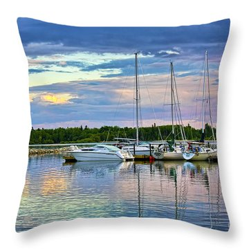 Hecla Island Boats II Throw Pillow by Teresa Zieba