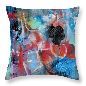 Throw Pillow featuring the painting Hectic by Katie Black