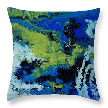 Throw Pillow featuring the painting Hectic Reflections by Arlene Sundby