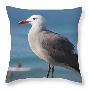 Heermann's Gull And Surfboarder Throw Pillow