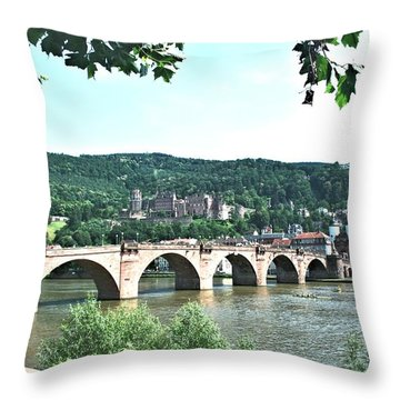 Heidelberg Schloss Overlooking The Neckar Throw Pillow