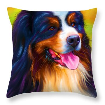 Colorful Bernese Mountain Dog Painting Throw Pillow by Michelle Wrighton