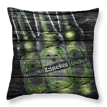 Heineken Bottles Throw Pillow by Joe Hamilton
