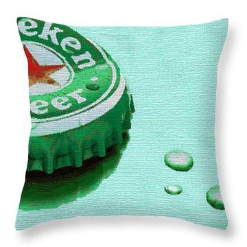 Heineken Cap Green Throw Pillow