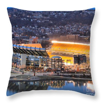 Heinz Field At Night Throw Pillow by Adam Jewell