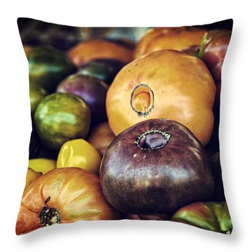 Heirloom Tomatoes At The Farmers Market Throw Pillow by Scott Norris