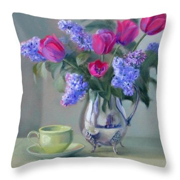 Heirlooms- Lilacs And Tulips In A Silver Pitcher Throw Pillow