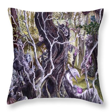 Throw Pillow featuring the painting Heist Of The Wizard's Staff 2 by Curtiss Shaffer