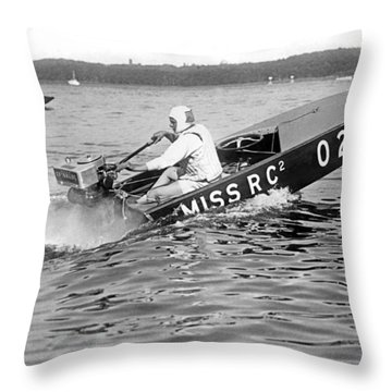 Helen Hentshel Of New York Wins The Class B Outboard Races Throw Pillow