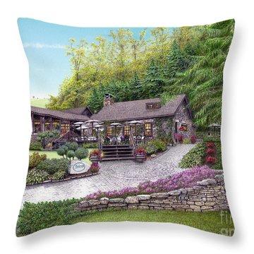 Helen's Restaurant At Seven Springs Throw Pillow by Albert Puskaric