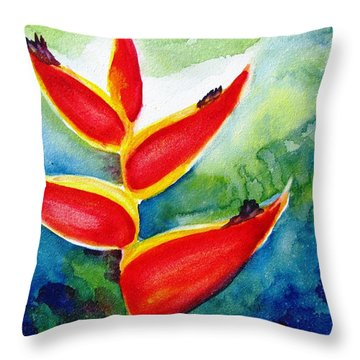 Heliconia - Abstract Painting Throw Pillow by Carlin Blahnik