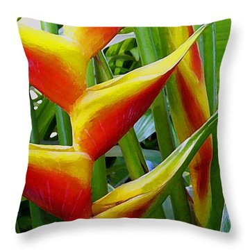 Heliconia Bihai Kamehameha Throw Pillow by James Temple