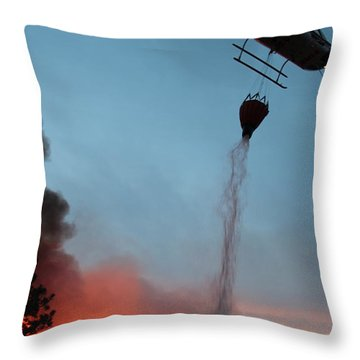 Throw Pillow featuring the photograph Helicopter Drops Water On White Draw Fire by Bill Gabbert
