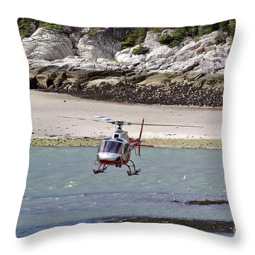 Helicopter Landing In Skagway Throw Pillow