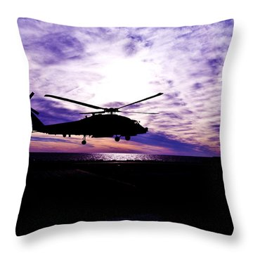 Helicopter Silhouette At Sunset Throw Pillow by Mountain Dreams