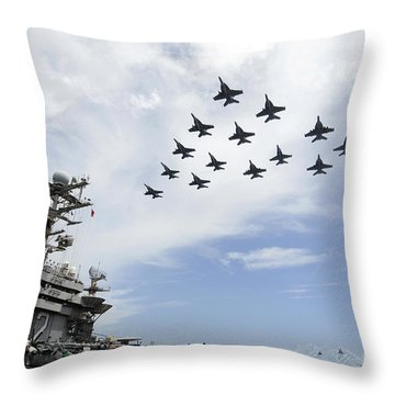 Helicopters Fire Flares As Jets Fly Throw Pillow