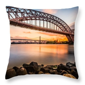 Hell Gate And Triboro Bridge At Sunset Throw Pillow