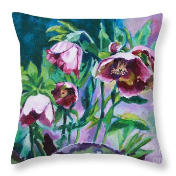 Hellebore Flowers Throw Pillow