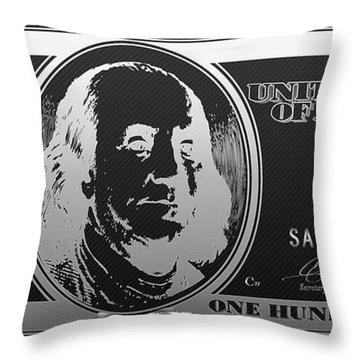 Hello Benjamin - Silver One Hundred Dollar Us Bill On Black Throw Pillow