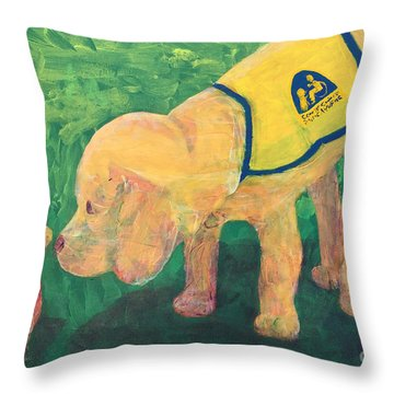 Throw Pillow featuring the painting Hello - Cci Puppy Series by Donald J Ryker III