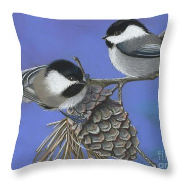 Hello Chickadees Throw Pillow by Tracy L Teeter