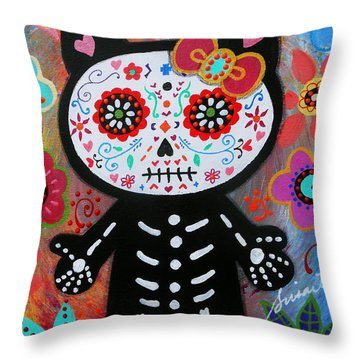 Hello Kitty Dia De Los Muertos Throw Pillow