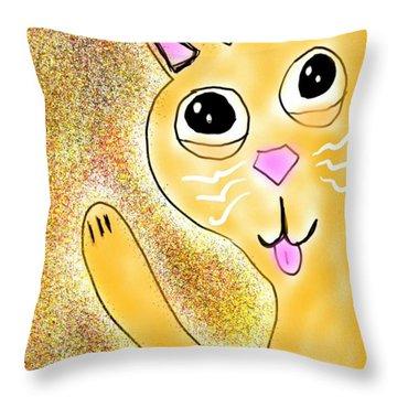 Hello Little Kitty Throw Pillow