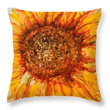 Hello Sunflower Throw Pillow
