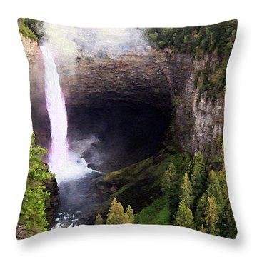 Helmcken Falls Bc Throw Pillow by Kathy Bassett
