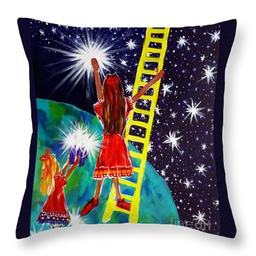 Helping Hands Throw Pillow by Jackie Carpenter